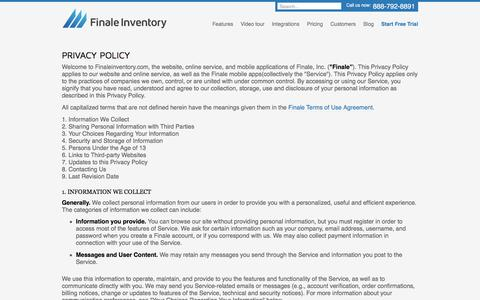 Screenshot of Privacy Page finaleinventory.com - Finale Inventory Privacy Policy - captured Aug. 3, 2016