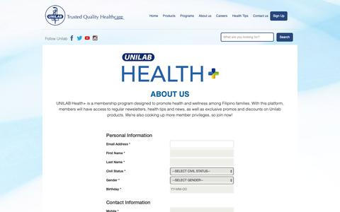 Screenshot of Signup Page unilab.com.ph - Health Plus – Unilab - captured Feb. 20, 2019