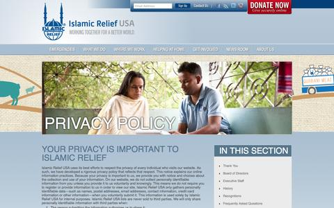 Screenshot of Privacy Page irusa.org - Privacy Policy – Islamic Relief USA - captured Sept. 25, 2014