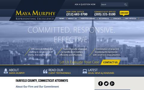 Screenshot of About Page mayalaw.com - Fairfield Family Law Attorney | Westport Employment Lawyer | Greenwich Criminal Law Firm - captured Oct. 27, 2014