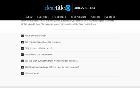 Screenshot of FAQ Page cleartitleaz.com - FAQ's – Clear Title Agency of Arizona - captured Nov. 6, 2016
