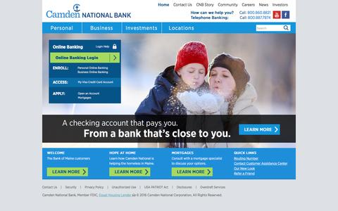 Screenshot of Home Page camdennational.com - Checking, Savings, Business Loans – Camden National Bank — Camden, Maine - captured Feb. 25, 2016