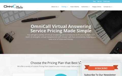 Screenshot of Pricing Page omnicall.com - Virtual Answering Service Monthly Pricing   OmniCall - captured Nov. 10, 2017