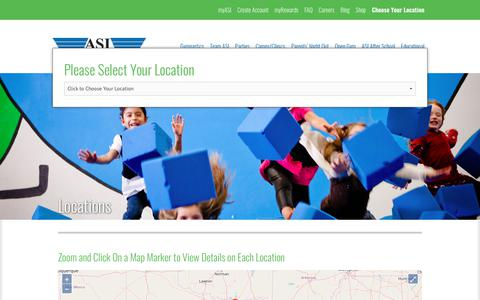 Screenshot of Locations Page asigymnastics.com - Locations -ASI Gymnastics - captured July 28, 2018