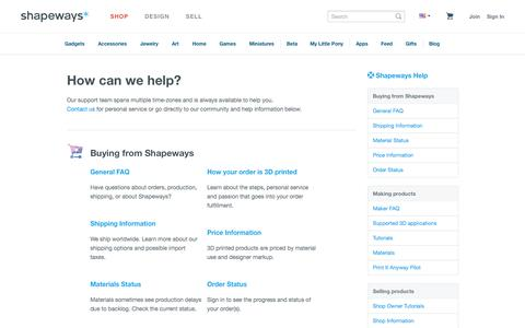 Screenshot of Support Page shapeways.com - How can we help? - Shapeways - captured Oct. 28, 2014