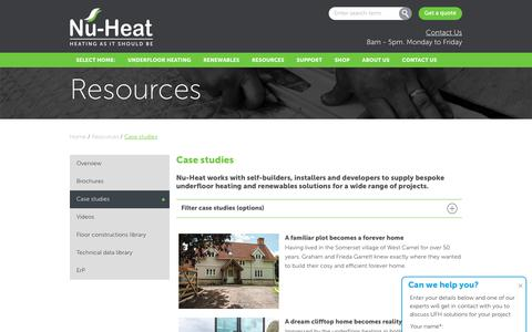 Screenshot of Case Studies Page nu-heat.co.uk - Case studies | Nu-Heat underfloor & renewables - captured Sept. 12, 2018