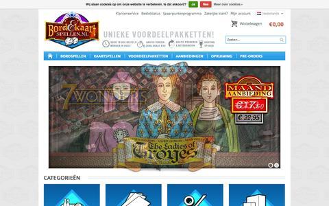 Screenshot of Home Page bordenkaartspellen.nl - Bordspellen Kaartspellen & Gezelschapsspellen Snel Online Kopen - captured Oct. 5, 2014