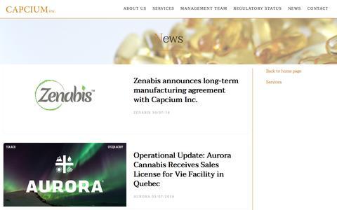Screenshot of Press Page capcium.com - Capcium | News - captured Sept. 26, 2018