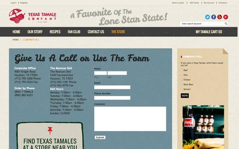 Screenshot of Contact Page texastamale.com - Texas Tamale Company  | Contact Us |  Houston, TX - captured Oct. 7, 2014
