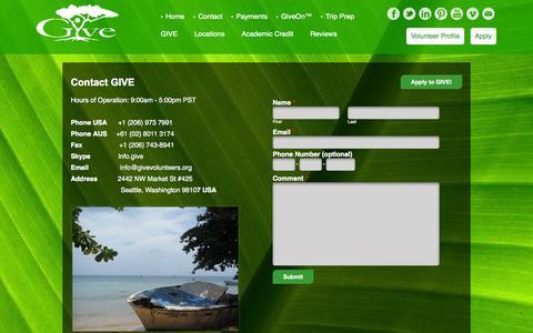 Screenshot of Contact Page givevolunteers.org - GIVE - Contact Us - Growth International Volunteer Excursions - captured Nov. 2, 2014
