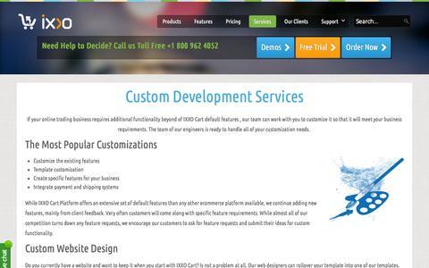 Screenshot of Services Page ixxocart.com - Custom Development - ixxocart.com - captured Jan. 14, 2016