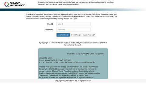 Screenshot of Login Page gilbarco.com captured Jan. 5, 2018