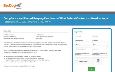 Screenshot of Landing Page birddoghr.com - Compliance and Record Keeping Readiness – What Federal Contractors Need to Know - captured May 22, 2018
