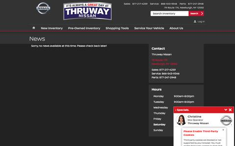 Screenshot of Press Page thruwaynissan.com - Thruway Nissan | New Nissan dealership in Newburgh, NY 12550 - captured Feb. 17, 2018