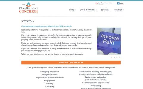 Screenshot of Services Page panamahomeconcierge.com - Panama Home Concierge Services - Packages from $89 a month. - captured Sept. 27, 2014