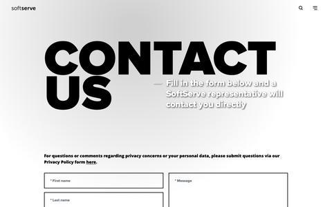 Screenshot of Contact Page softserveinc.com - Contact SoftServe | SoftServe - captured Feb. 2, 2019