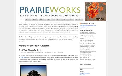 Screenshot of Press Page prairieworksinc.com - Category Archive for 'news' at Prairie Works, Inc. - captured Sept. 30, 2014
