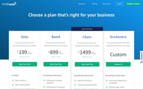 Screenshot of Pricing Page webengage.com - Pricing Plans | WebEngage - captured Oct. 13, 2018