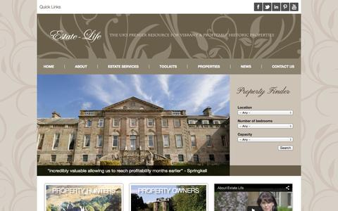 Screenshot of Home Page estate-life.com - Estate Life | The UK's Premier Resource for Vibrant & Profitable Historic Properties - captured Oct. 3, 2014