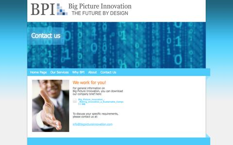 Screenshot of Contact Page bigpictureinnovation.com - Contact Big Picture Innovation - info at bigpictureinnovation.com - captured Sept. 30, 2014