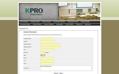 Screenshot of Contact Page k-prosteel.com - Contact Us - captured Oct. 3, 2014