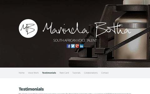 Screenshot of Testimonials Page marindabotha.co.uk - Testimonials - Marinda Botha | Marinda Botha - captured Nov. 5, 2014