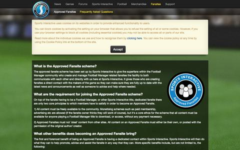 Screenshot of FAQ Page sigames.com - Sports Interactive, the developers of Football Manager - Approved Fansites; Frequently Asked Questions - captured Sept. 18, 2014