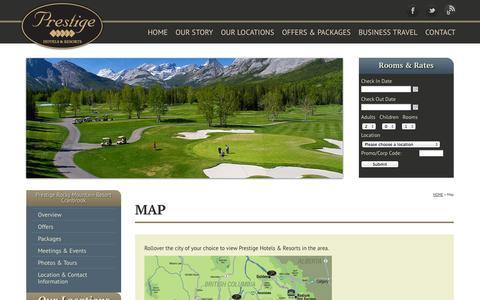 Screenshot of Maps & Directions Page prestigehotelsandresorts.com - Tourism and Community: Prestige Rocky Mountain Resort Cranbrook - captured Oct. 3, 2014