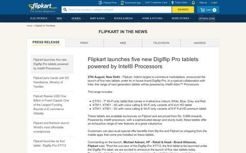 Screenshot of Press Page flipkart.com - Flipkart.com - captured Sept. 12, 2014