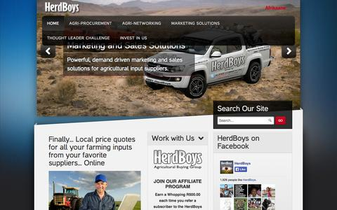 Screenshot of Home Page herdboys.co.za - Home - captured Oct. 2, 2014