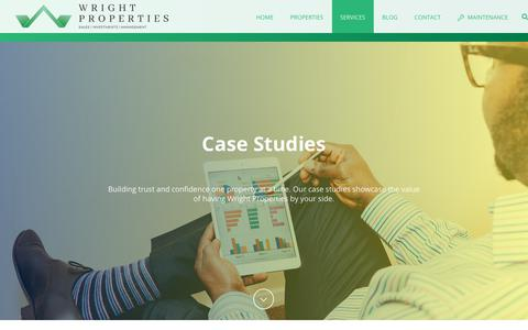 Screenshot of Case Studies Page wrightprop.com - Case Studies - Wright Properties - captured Oct. 19, 2018