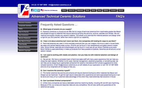 Screenshot of FAQ Page precision-ceramics.co.uk - Precision Ceramics Frequently Asked Questions - captured Sept. 30, 2014
