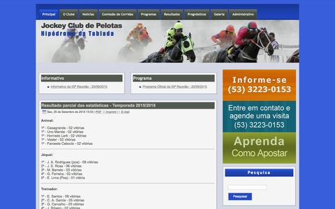 Screenshot of Home Page jcpelotas.com.br - Jockey Club de Pelotas - captured Sept. 27, 2015