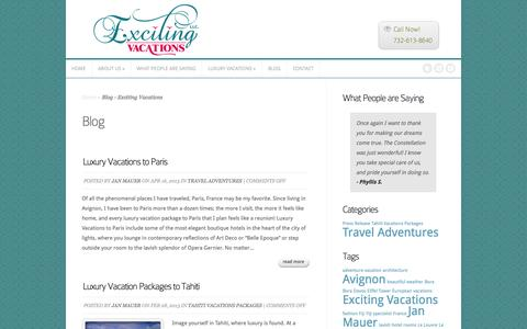 Screenshot of Blog excitingvacations.net - Blog - Exciting Vacations - captured Oct. 3, 2014