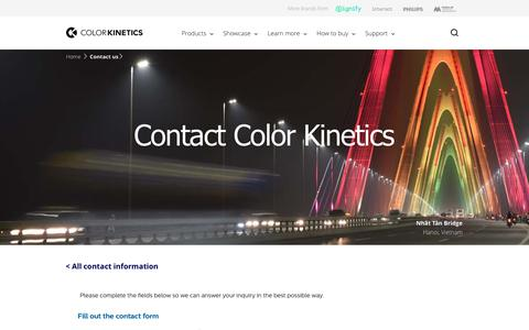 Screenshot of Contact Page colorkinetics.com - Contact us | Color Kinetics - captured Feb. 10, 2019