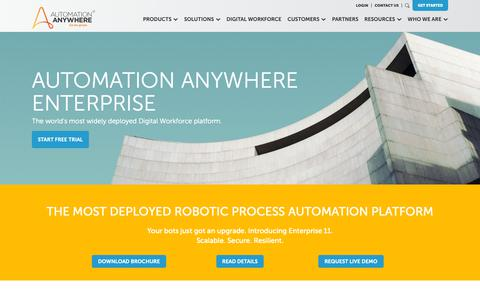 Screenshot of Products Page automationanywhere.com - Best Robotic Business Process Automation Software and Digital Workforce Platform | Automation Anywhere - captured Dec. 15, 2018