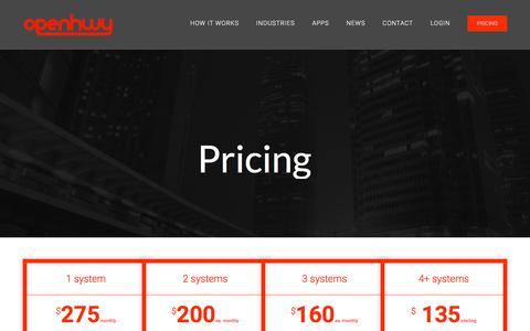 Screenshot of Pricing Page openhwy.com - Pricing - Openhwy - captured Sept. 20, 2018