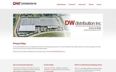 Screenshot of Privacy Page dwdistribution.com - Privacy Policy  |  DW Distribution Inc - captured Dec. 9, 2018