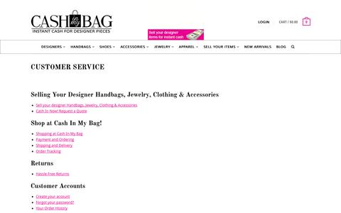 Screenshot of Support Page cashinmybag.com - Sell Buy Designer Handbags - captured Oct. 28, 2014