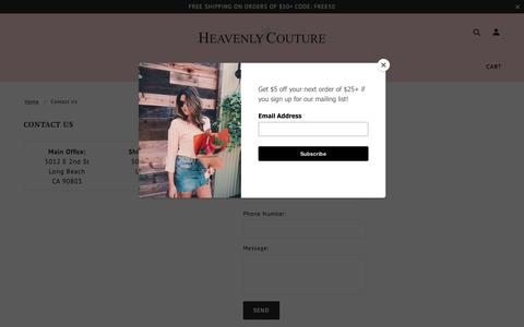 Screenshot of Contact Page heavenlycouture.com - Contact Us | Heavenly Couture | Heavenly Couture - captured Sept. 22, 2018