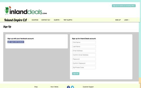 Screenshot of Signup Page inlanddeals.com - Signup | Inland Deals - captured Sept. 30, 2014