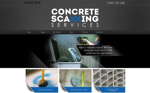 Screenshot of Home Page Privacy Page Terms Page concretescanningservices.com.au - CONCRETE SCANNING SERVICES - captured Oct. 2, 2014