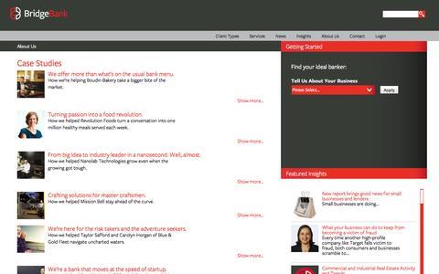 Screenshot of Case Studies Page bridgebank.com - Case Studies   Bridge Bank - Be bold, venture wisely. - captured Sept. 23, 2014