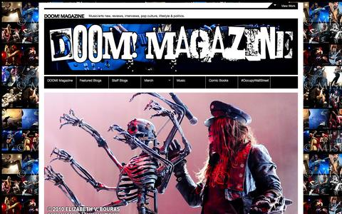 Screenshot of Home Page doom-magazine.net - DOOM! Magazine - Music/arts new, reviews, interviews, pop culture, lifestyle & politics.DOOM! Magazine - captured Sept. 30, 2014