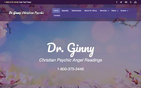 Screenshot of Home Page drginny.com - Home - Dr. Ginny Christian Angel Readings - captured Nov. 2, 2018