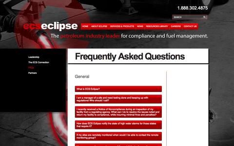 Screenshot of FAQ Page ecseclipse.com - Frequently Asked Questions- Fuel System Management- Fuel Inventory- Tank Monitoring - ECS Eclipse Fuel System Management - captured Sept. 26, 2014
