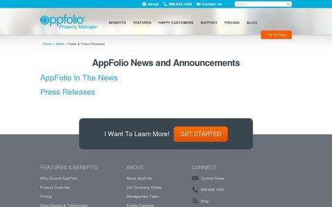 Screenshot of Press Page appfolio.com - AppFolio News, Press Releases | AppFolio.com - captured July 20, 2014