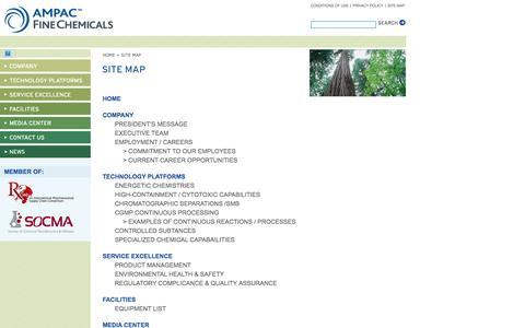 Screenshot of Site Map Page apfc.com - AMPAC Fine Chemicals Site Map - captured Nov. 19, 2016