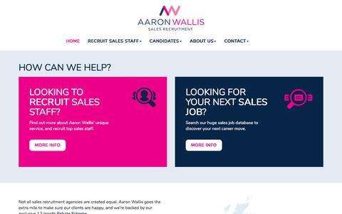 Screenshot of Home Page aaronwallis.co.uk - Sales Recruitment Agency | Aaron Wallis Sales Recruitment - captured Sept. 19, 2017