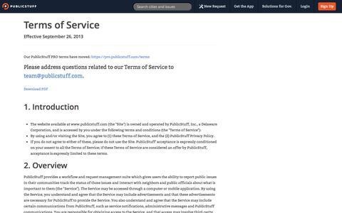 Screenshot of Terms Page publicstuff.com - PublicStuff ~ Terms - captured Sept. 12, 2014